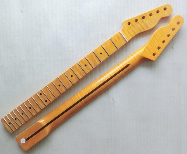 Cheap 21 Fret Tiger flame material Canadian maple Yellow Color Electric Guitar Neck Wholesale Guitar accessories musical instruments
