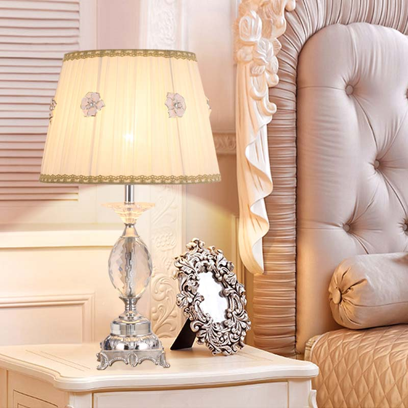 Modern Luxury Crystal Table Lamp Living Room Classical Bedroom Bedside Table Lights Fabric