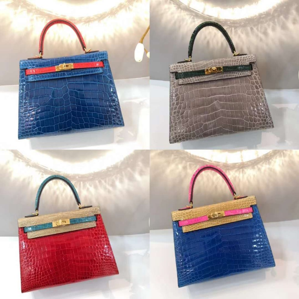 Toppest Level Quality High Glossy Real genuine crocodile skin women handbag in length 25cm with cow skin lining contrast colorsToppest Level Quality High Glossy Real genuine crocodile skin women handbag in length 25cm with cow skin lining contrast colors