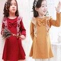 Платья зима 2016 рождество девушка платье мода милый лук кружева дети одежда высокого качества симпатичные малышей девушка платье принцессы