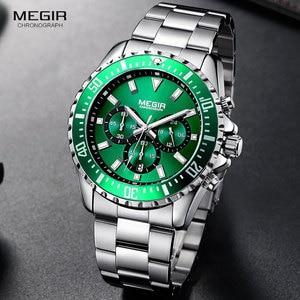 Image 3 - MEGIR Mens Chronograph Quartz Watches Stainless Steel Waterproof Lumious Analogue 24 hour Wristwatch for Man Green Dial 2064G 9