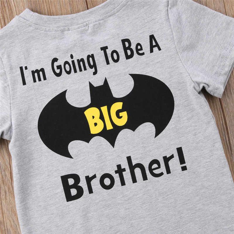 9315605209 Cotton Toddler Kid Baby Boy Batman Big Brother O-Neck Top T-shirt Casual