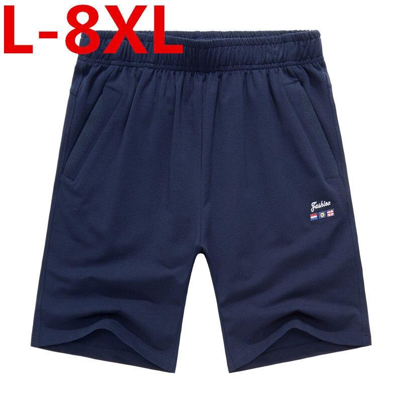 high quality summer mens shorts loose elastic cotton casual shorts fashion jogger shorts mens short pants plus size 8XL 7XL