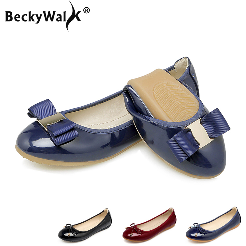 Plus Size 34-43 Women Shoes Foldable Ballet Flats Patent PU Leather Spring Summer Ladies Flat Shoes Fashion Loafers Shoes Woman