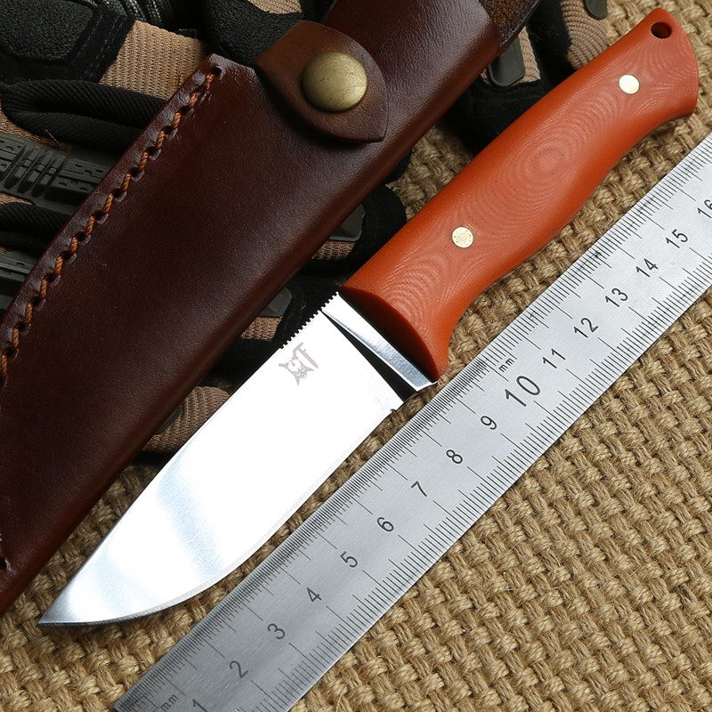 Herdsman Micarta or G10 leather sheath Hunting knife D2 blade Steel Fixed Blade Knife survival camping