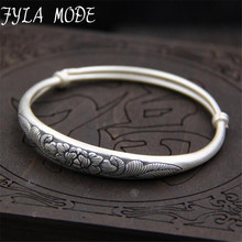 Fyla Mode  Beautiful Peony Flower Carved Luck Unisex S999 Thai Silver Cuff Adjustable Bracelet 9mm 23.40G TYC077