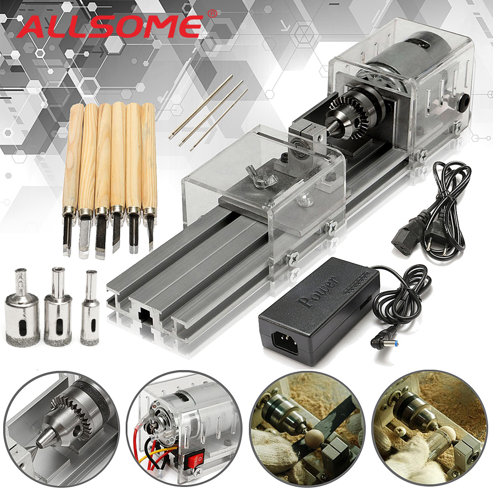 ALLSOME Mini Lathe Machine Tools DIY Woodworking Wood lathe Milling machines Grinding Polishing Beads Drill Rotary