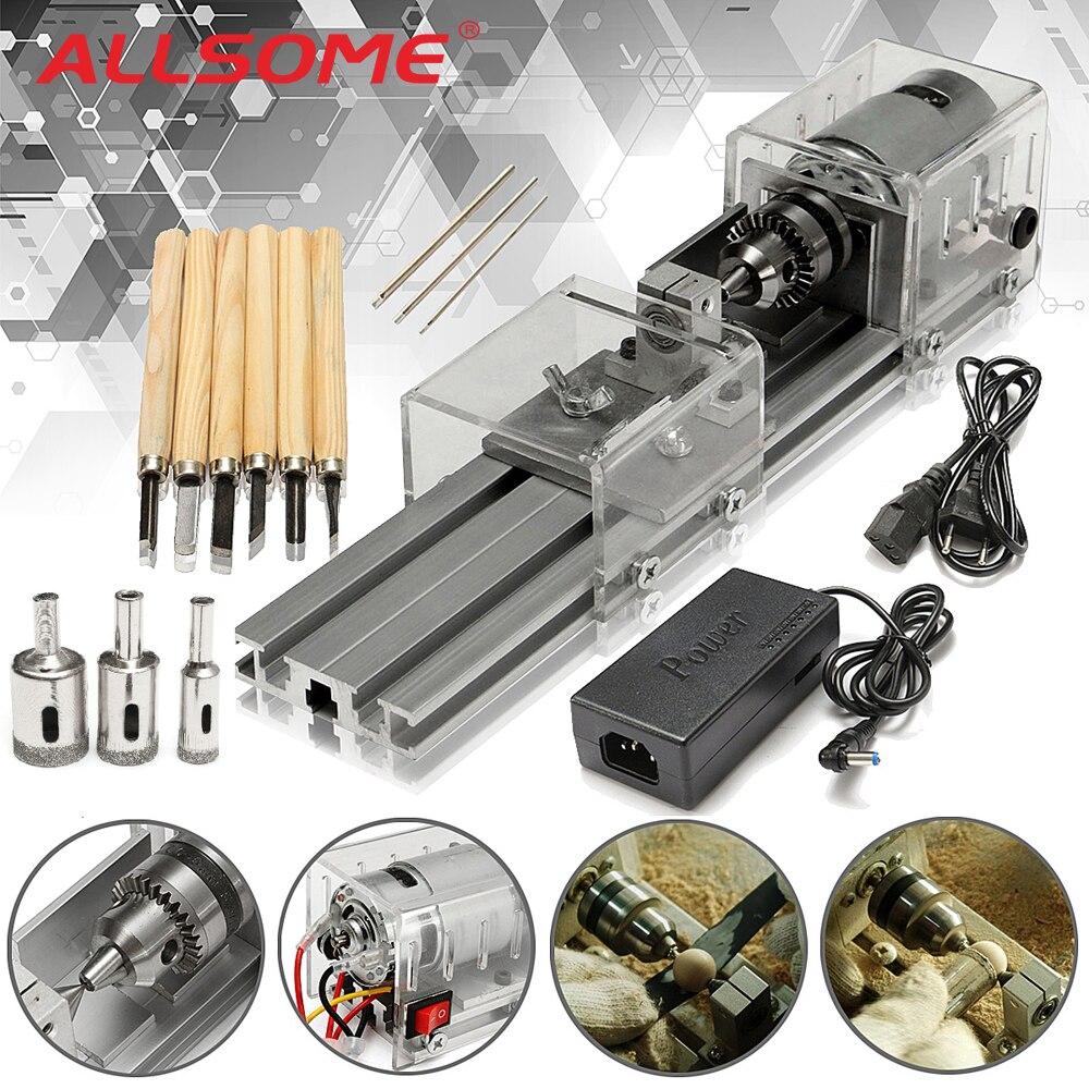 ALLSOME Mini tour machines-outils bricolage travail du bois tour à bois fraiseuses meulage perles de polissage perceuse ensemble d'outils rotatifs kit