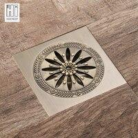HIDEEP гальваническим решетка дренажный общие трапных латунь цветок дезодорант Ванная комната Кухня античная бронза Медь утечка Душ
