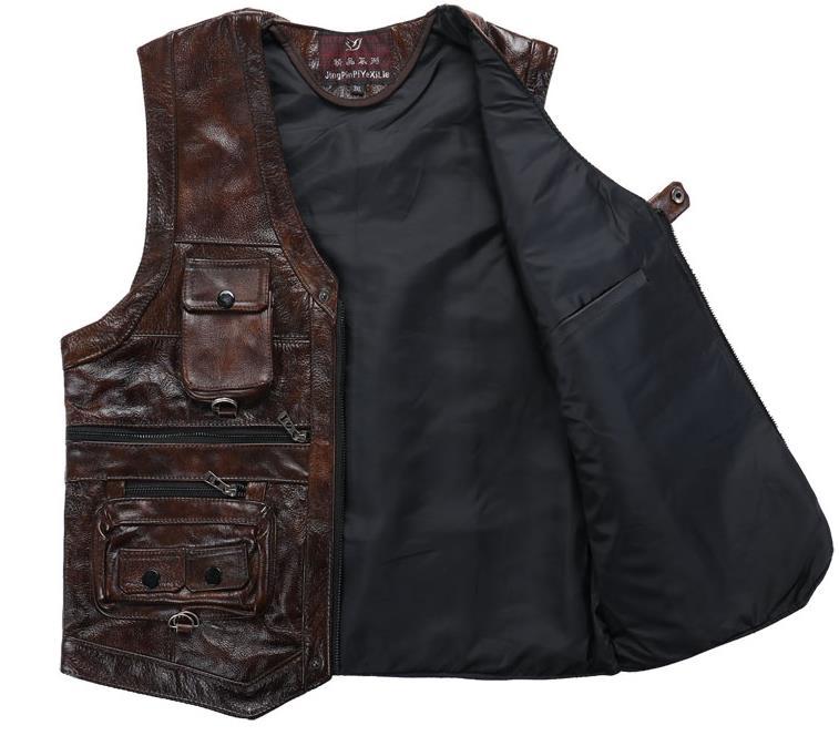 Männer Casual Rindsleder Echtes Leder Weste Mode Multi Zipper Tasche Reporter Gentlement Ärmellose Jacke Weste XL 8XL-in Westen & Gilets aus Herrenbekleidung bei  Gruppe 2