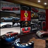 3 d Rosso Ferrari Log Auto Murale Living RoomHotel Corridoio Rivestimenti Murali Sfondi Sport Car Murales de pared 3d Photo Wallpaper