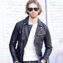 2017 Men Motorcycle Jacket Leather Black Turn-down Collar Real Sheepskin Diagonal Zipper Men Slim Fit Biker Coat FREE SHIPPING