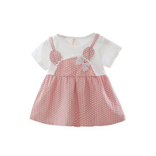 Girl Short Sleeve dress Fake Two Princess Dresses with Suspenders