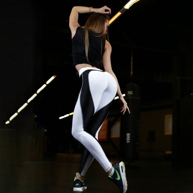 Heart Pattern Mesh Splice Legging Fitness Workout Breathable Clothing Sportswear Elastic Sporting Leggings Women Pants