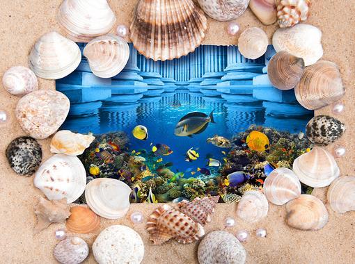 customize 3d flooring Shell Beach wallpaper 3d floor murals kitchen vinyl wallpaper 3d stereoscopic wallpaper