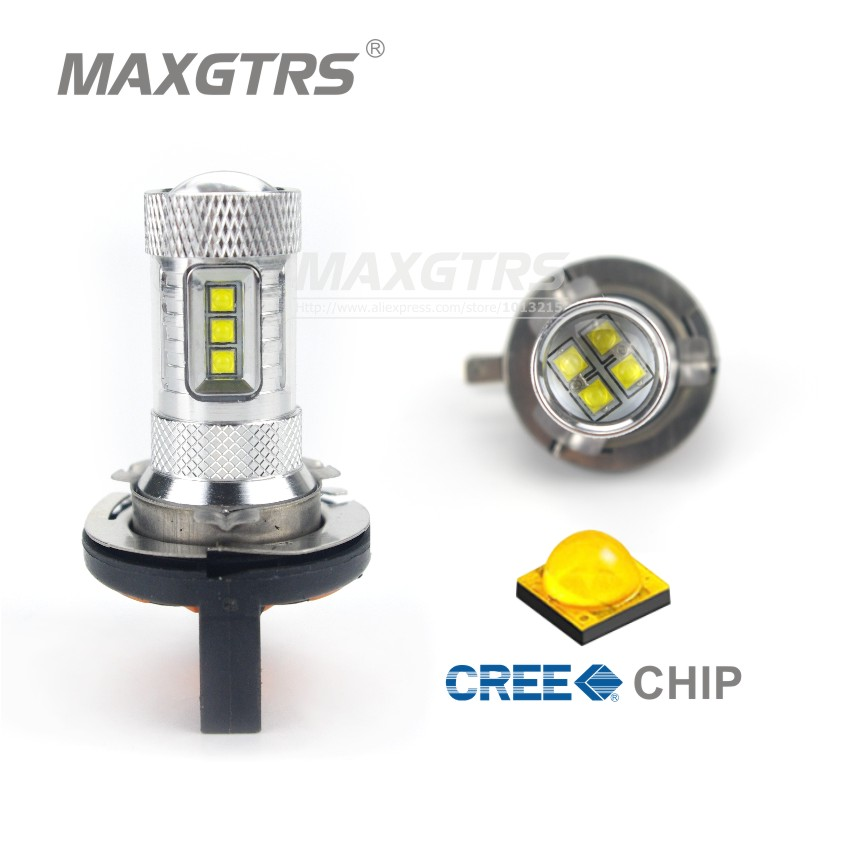 2X H15 CREE Chip 80W Car Auto DRL Daytime Running Lights Lens Lamp Replacement Fog Bulb 850LM White/Red/Yellow DC12-24V 2x h8 h11 9005 9006 h16 cree chip led white red yellow car fog headlight replacement bulb drl auto driving daytime running light