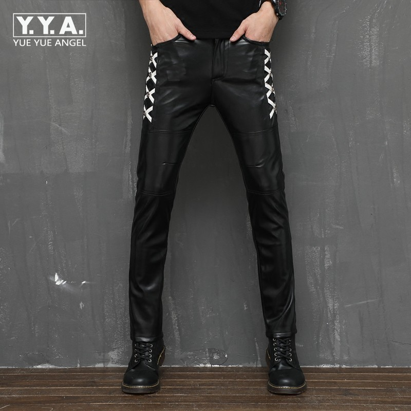 Personality Mens Skinny Pants Full Length Fleece Lining Winter Warm Male Trousers Punk Rock Fashion Faux Leather Pants Pantalon стоимость