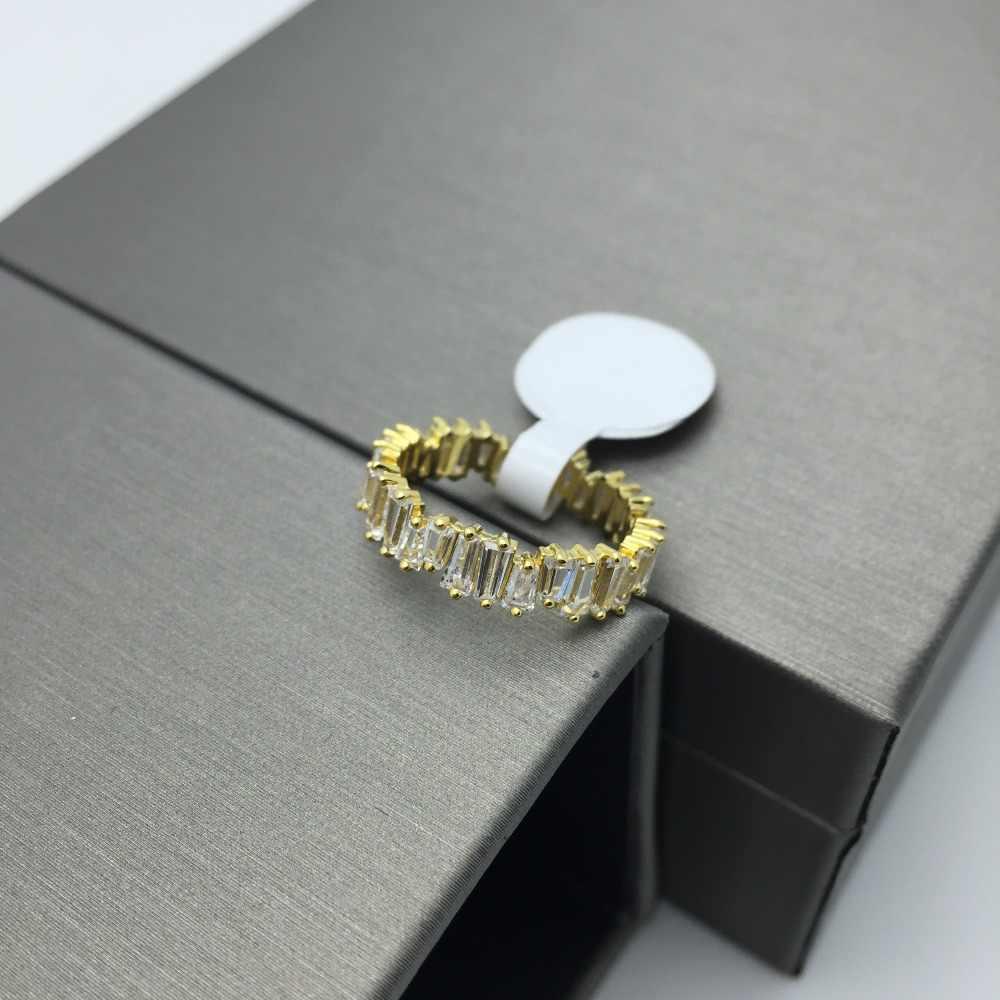 Dunne Baguette T Ring Engagement Handgemaakte Regenboog Trapezium Stone Ringen Voor Vrouwen Mode Vinger Accessoires Anel Wedding Band