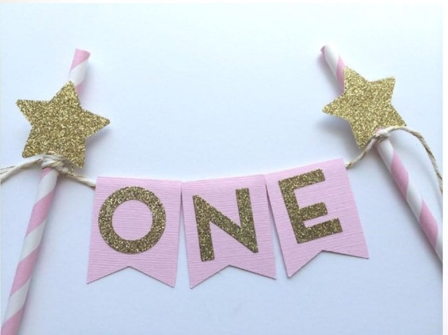 New Pink Gold Twinkle Little Star One Cake Topperhot Party Decorations 1st Birthday