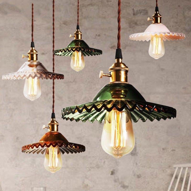 Retro Brass Glass Pendant Lamp Minimalist Rustic Ceiling Hanging Light Home Lighting Fixtures Kitchen Island Living Room Bedroom