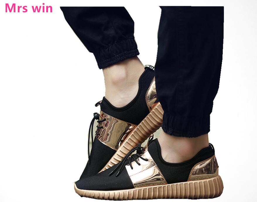 hot sale men women Outdoor sports shoes running shoes for men Gold and silver blacLight and spring Mesh breathable sneakers
