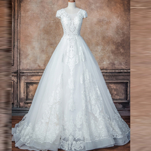 FANGDALING 2019 Ball Gown V Back Wedding Dresses Cap Sleeve