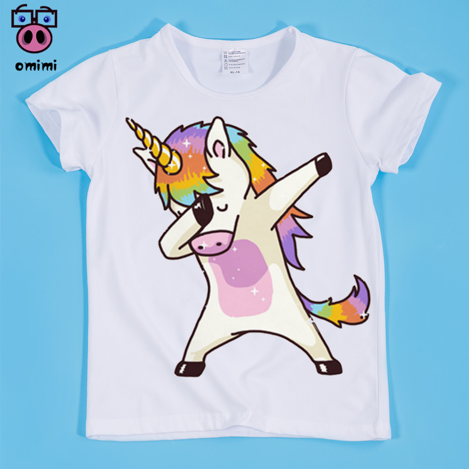 Hot Sale,children's Dabbing Unicorn Kawaii Funny Printing Tee Shirts Boy And Girl Summer Short Sleeve T-shirts Kid's Casual Tops