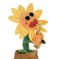 Singing Dancing Flower Enchanting Sunflower With Saxophone Soft Stuffed Plush Toys Funny Electric Toys For Kids