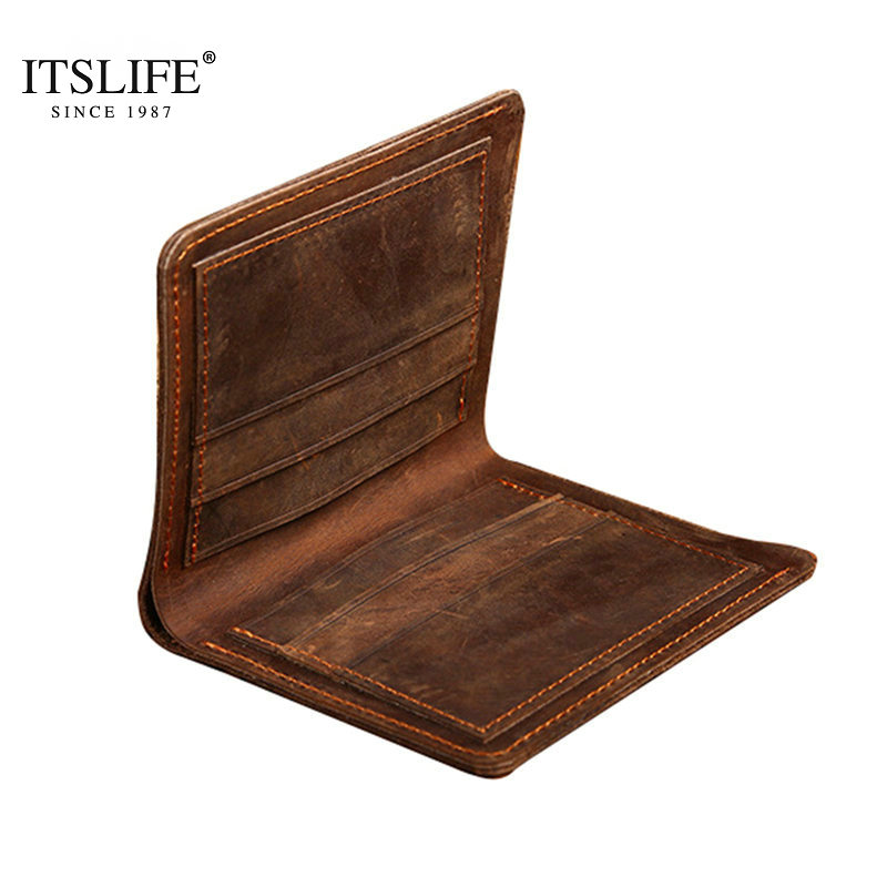 Crazy horse leather men wallets vertical and cross styles genuine leather wallet for men cowboy top leather Vintage purse card