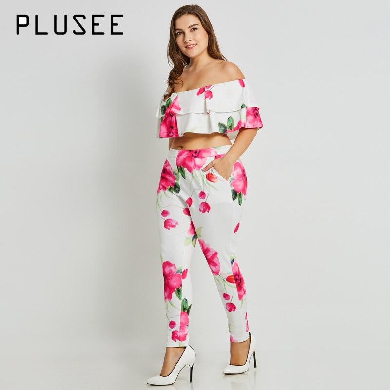 Plusee Plus Size Fashion Womens Set Ruffles Short Sleeve Tops Floral Suit Long Pants Over Size XL-4XL