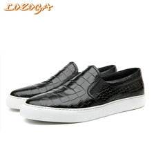 2017 New Men Shoes Genuine Leather Flat Shoes Original Brand Casual Shoes Alligator Luxury Design Handmade Leisure Shoes Loafers