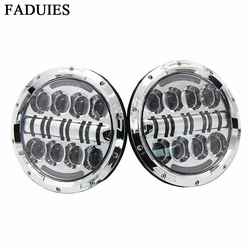 FADUIES For Jeep Wrangler 7 Inch 80W Silver Headlight High Low Beam Chrome Projector Headlamp Bulb