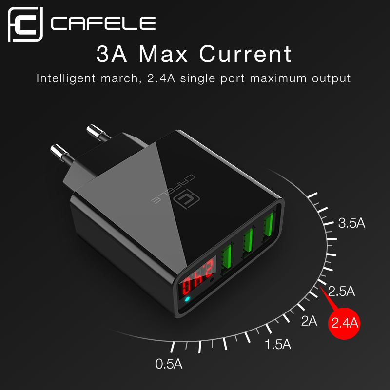 Cafele 3 Ports USB Charger LED Display Charger USB EU US Plug USB Charger Max Output DC 5V 3A USB Wall Charger quick charger qc 3 0 fast charger dual usb with output 5v 3a universal usb car mobile phone charger adaptor smartphone v20qc3