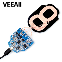 VEEAII  Qi Wireless Charger PCBA Circuit Board 2-Coils For iphone X Wireless Charging Micro USB Port DIY for Samsung  S9 S7