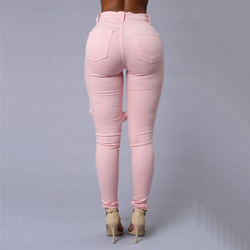 Sexy Ripped Jeans For Women Nice Skinny Big Holes Jeans Mid Waist ...
