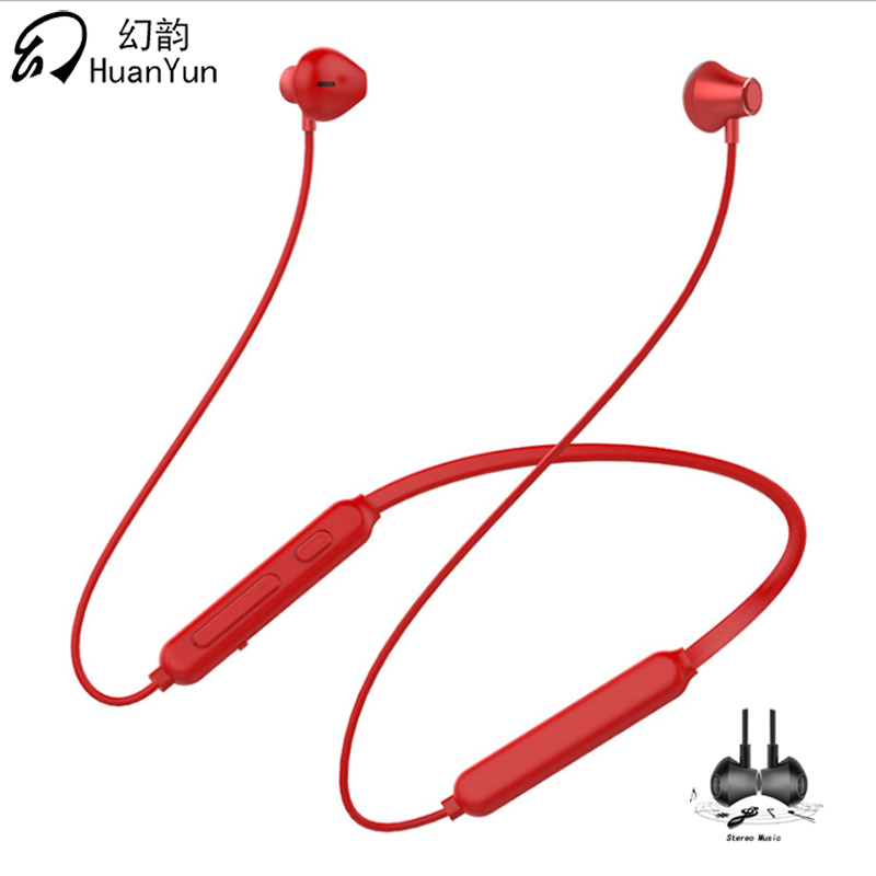 Huan Yun Bluetooth Earphone Wireless Neckband Sport Magnetic Double Battery Bluetooth Headphone Headset Stereo Bass with Mic original bass hifi bluetooth headset stereo earphone sport wireless headphone hands free mic dual replacment battery for iphone7