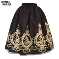 Señoras Invierno Negro Midi Falda de Tul con Bordado de La Flor Jupe Faldas de Cintura Alta Faldas de Tulle de La Vendimia Mujeres de talla grande Ropa