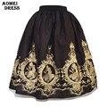Senhoras de Inverno Preto Midi Saia de Tule com Bordado Flor Faldas Saias Jupe Tule Cintura Alta Do Vintage Plus Size Roupas Femininas