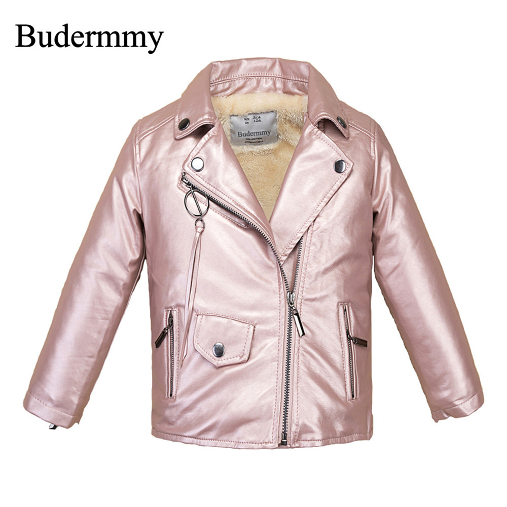 Thicken Warm Winter Jackets for Girls Fashion Style Design Coats Halloween Gift for 3-12 Years Toddler Childrens leather jacket