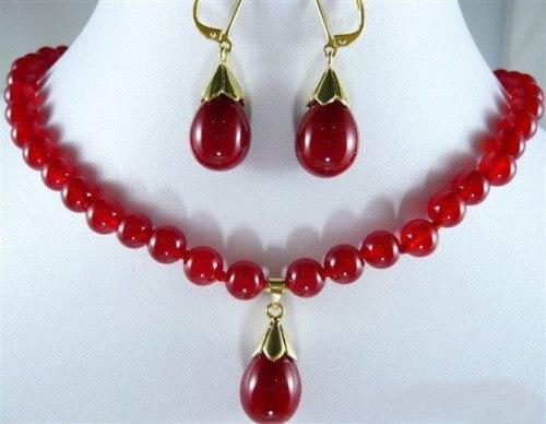 501c9bb433c9 ... pendientes maravillosa nobleza bien joyería de la boda suerte las mujeres  plata 925. Exquisite Red Jade 18KGP Hook Pendant Necklace Earrings