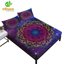 Colorful Mandala Flowers Print Bed Sheets Galaxy Fitted Sheet Soft Bedclothes Elastic Band Mattress Cover Pillowcase D49