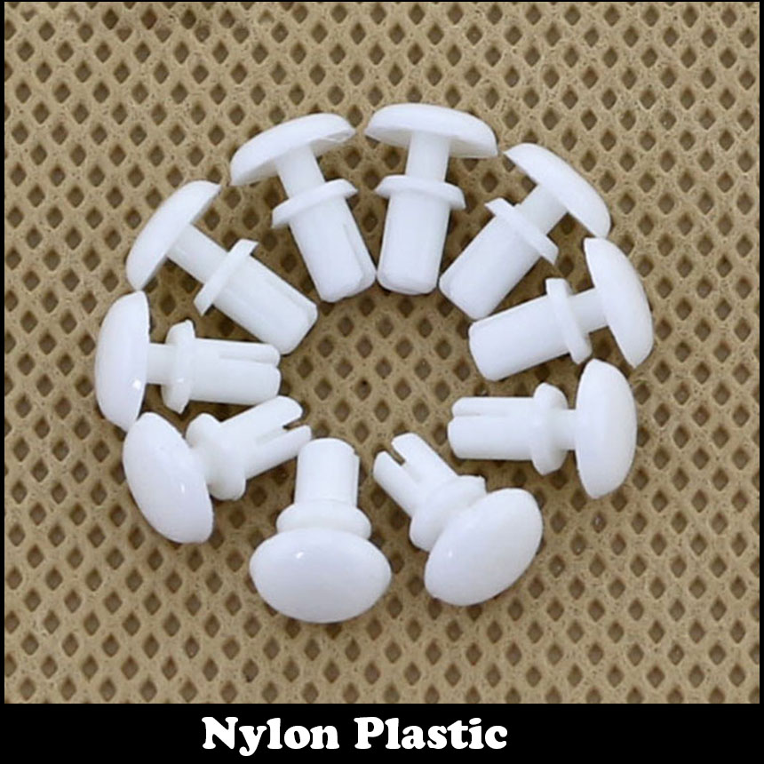 100pcs R3055 3.1mm Diameter Hole White Black Nylon Plastic Insulating Fastener Retainer Cover PC Board Clip R Type Push Rivet ...