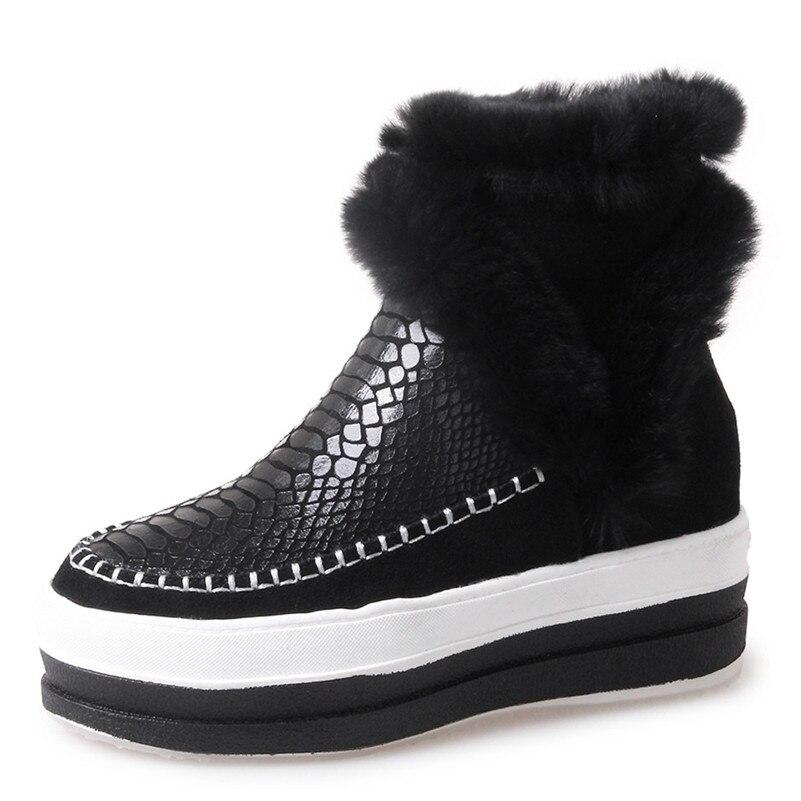 De Caliente Tobillo Fedonas Calidad Tacones La Botas Vaca Zapatos Casuales Cremallera Mujeres Para Cuero 1 Nueva Moda Invierno Mujer Cuñas Negro Nieve IvIacq7EWr