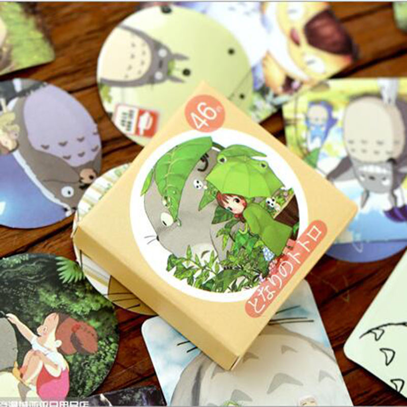 Cute Totoro Boxes Stickers Crafts And Scrapbook Decorations Stickers Children's Students Kawaii Stationery 46pcs/box