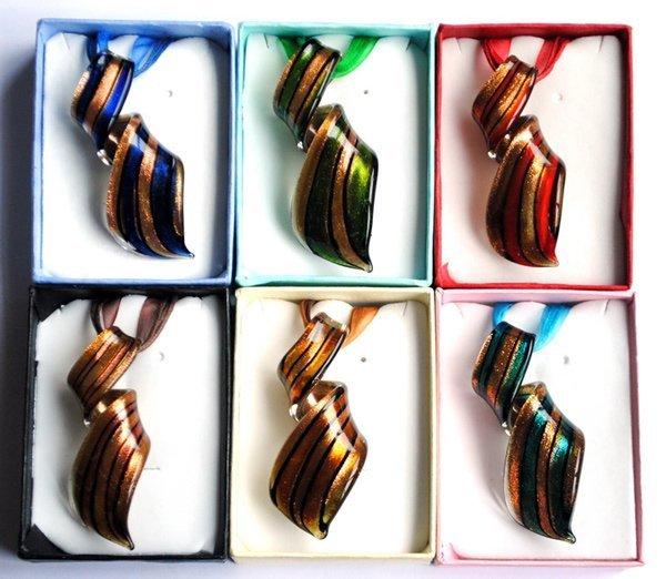 6 Unidades occidental nuevo estilo de polvo de Oro de murano murano collar colgante espiral caja de regalo que embala el envío libre para las mujeres