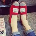 Resorte de La Manera Ocasional de Las Mujeres de Costura Carta Mocasines Zapatos de Lona Casual para Mujeres Darving Permeabilidad Al Aire de Masaje zapatillas de Ballet