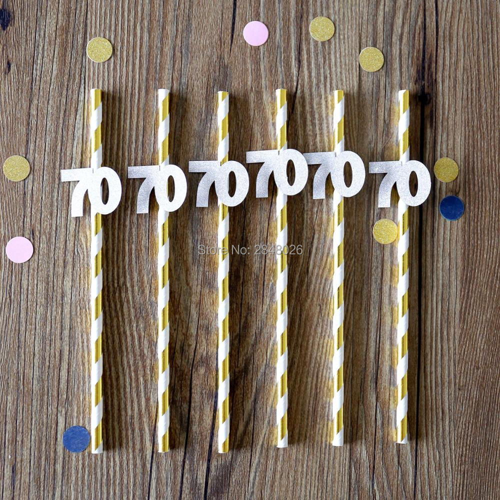 70th Birthday Straws Seventieth Anniversary Party Decorations 70 Gold And Silver Seventy In Disposable Tableware From Home Garden On