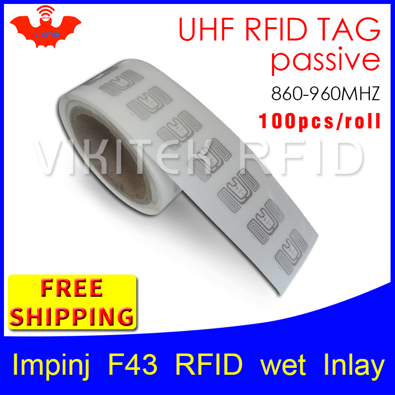 UHF RFID tag EPC 6C sticker Impinj F43 wet inlay 915mhz868mhz860-960MHZ Higgs3 100pcs free shipping adhesive passive RFID label 915mhz long range passive uhf rfid tag inlay label for warehouse management
