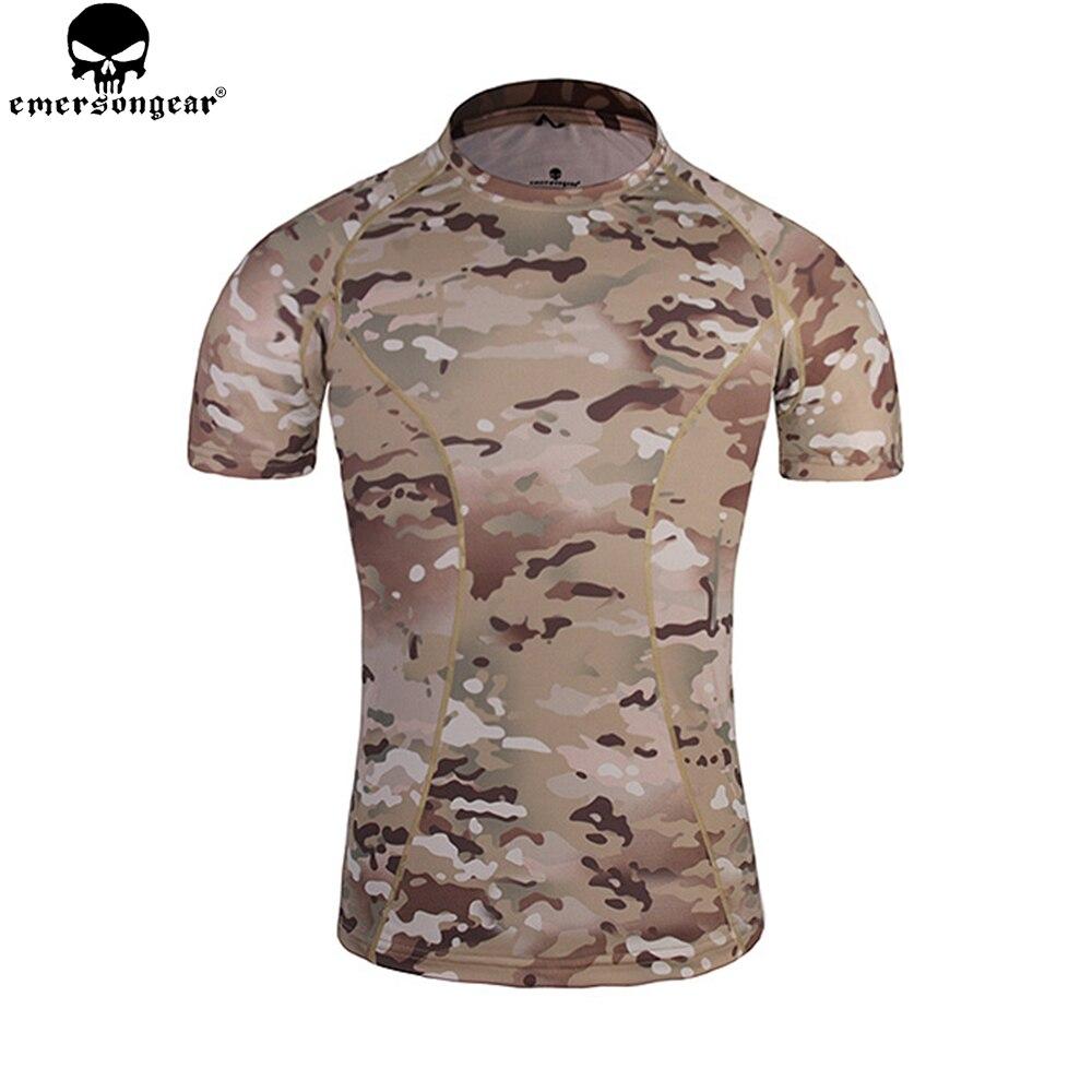 Emersongear Skin Tight Base Layer Camo Running Shirts Breathable Short Sleeve T shirt Combat Camoflauge Shirt