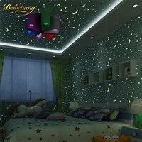beibehang Wholesale and retail blue stars children nightlight wallpaper baby bedroom top special non woven fluorescent
